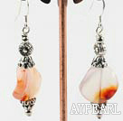 waved shape agate earrings with flower charms