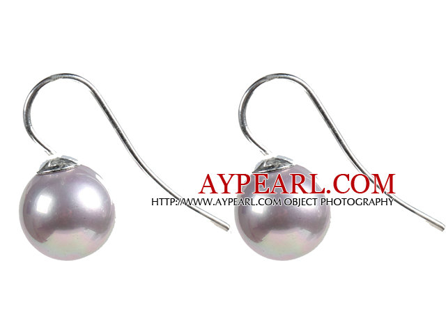 Classic Design Round Shape 10mm Light Purple Seashell Beads Earrings