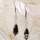 drop shape black agate rhinestone earrings
