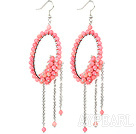 Fashion Style Pink Coral Long Dangle Tassel Earrings with Big Hoop