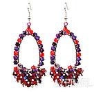 Fashion Style Red and Purple Series Crystal Cluster Earrings with Big Hoop