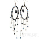 Wholesale Fashion Style Gray Black Crystal Long Dangle Tassel Earrings with Big Hoop