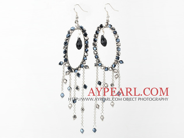 Fashion Style Gray Black Crystal Long Dangle Tassel Earrings with Big Hoop