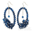 Fashion Style Dark Blue Faceted Agate Cluster Earrings with Big Hoop