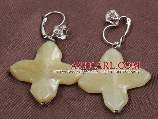 Vintage Elegant Design Cross Flower Shape Three Colored Jade Earrings Earrings With Rhinestone Hook