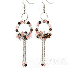 Wholesale Fashion Style Cherry Quartz and Tiger Eye and Opal Long Dangle Tassel Earrings with Big Hoop