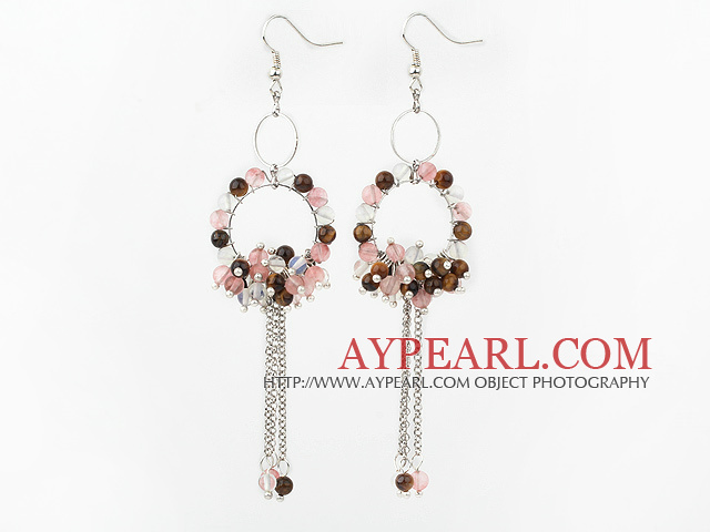Fashion Style Cherry Quartz and Tiger Eye and Opal Long Dangle Tassel Earrings with Big Hoop