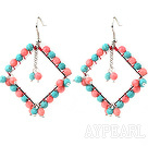 Fashion Style Rhombus Shape Faceted Turquoise and Pink Coral Earrings