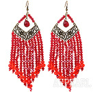 Chandelier Style Red Crystal Long Tassel Earrings with Bronze Accessoires