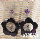 cute handmade flower shape violet agate earrings