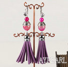 Beautiful Round Pink Agate And Cap Metal Charm Tassel Earrings With Rhinestone Lever Back Hook