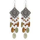 brown pearl and three color jade earrings