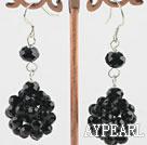 Wholesale cluster style black crystal earrings