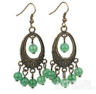 Vintage Round Aventurine Loop Bronze Charm Dangle Earrings With Fish Hook