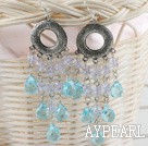 beautiful lake blue and clear crystal earrings