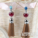Wholesale red agate earrings with tassels