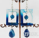 Beautiful Chunky Hollow Rectangle Round And Teardrop Blue Agate Dangle Earrings