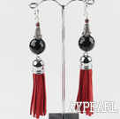 Wholesale black agate earrings with tassels