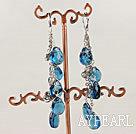 Wholesale dangling style sea blue drop shape glass beaded earrings