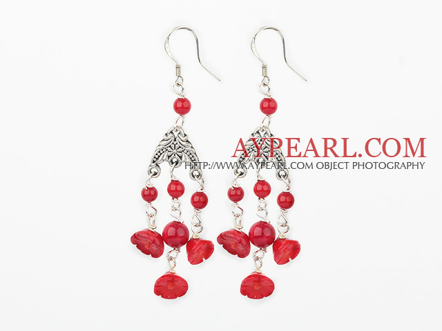 Fashion Lotus Round Red Coral Loop Link Dangle Earrings With Fish Hook