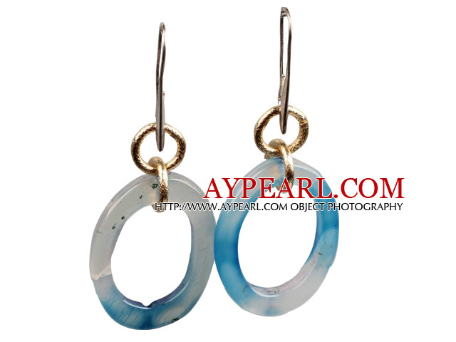 Simple Fashion Donut Shape Blue Agate Dangle Earrings
