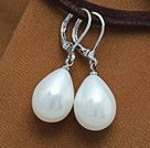 Wholesale drop shape 12*16 mm white sea shell bead earrings