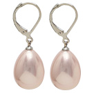 drop shape 12*16 mm baby face pink sea shell bead earrings