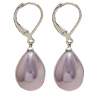 Wholesale drop shape 12*16 mm purple sea shell bead earrings