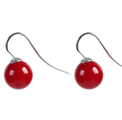 Classic Design Round Shape 10mm Red Seashell Beads Earrings