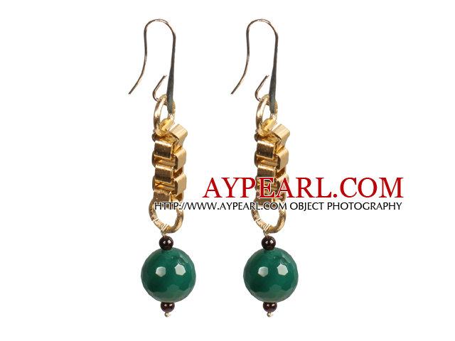 Long Style Garnet Green Agate Dangle Earrings With Golden Charms