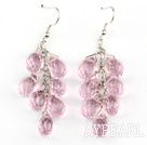 Lovely Manmade Teardrop Pink Crystal Dangle Earrings With Fish Hook