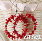 Fashion Teeth Shape Red Coral Metal Charm Hoop Earrings With Fish Hook