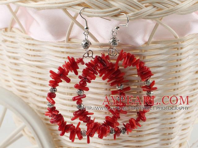 Fashion Teeth Shape Red Coral Metal Charm Hoop Earrings With Fish Hook