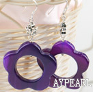 Wholesale flower shape purple color agate earrings