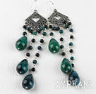 Wholesale chandelier shape gorgeous black agate phoenix stone earrings