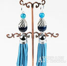 Wholesale lovely blue agate earrings with tassels