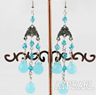 Wholesale blue jade drop shape crystal earring