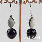 Wholesale faceted purple agate and black lip shell earrings