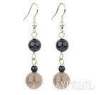 Wholesale black agate and smoky quartz dangle earrings