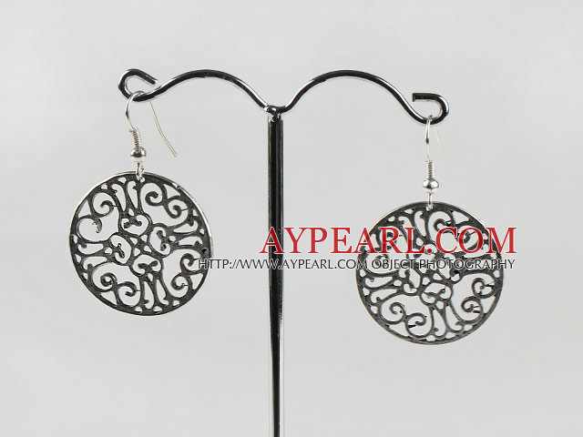 Vintage Style Ccb Silver Like Loop Round Charm Earrings With Fish Hook