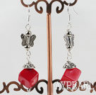 Wholesale dangling stlye red coral earrings with butterfly charm
