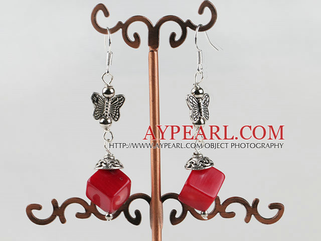 dangling stlye red coral earrings with butterfly charm
