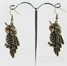 cute new style owl shape copper earrings