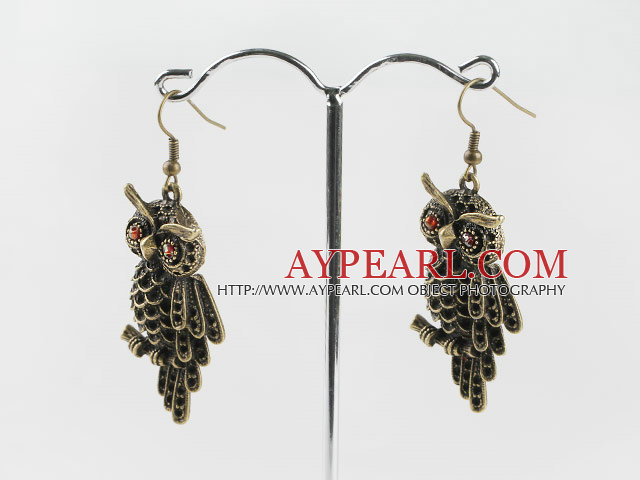 Cute 25*45Mm New Style Owl Shape Copper Charm Earrings With Fish Hook