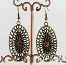 Cute New Style Oval Fan Shape Loop Bronze Copper Charm Earrings With Fish Hook