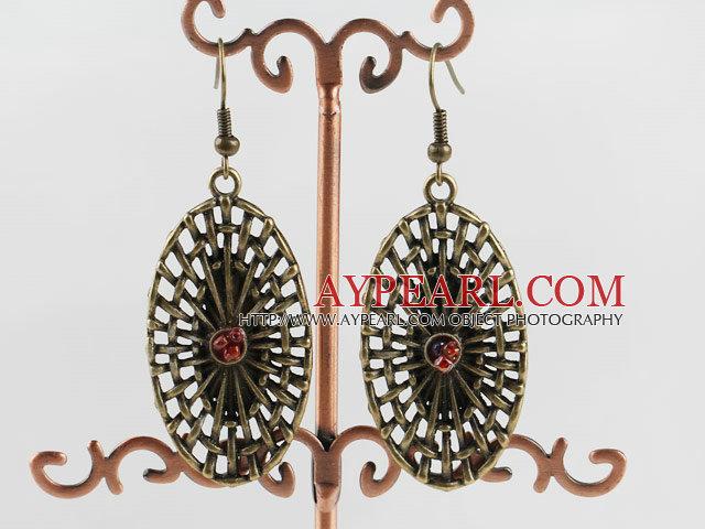 Cute New Style Oval Fan Shape Loop Bronze Copper Charm Earrings With Fish Hook