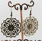 Beautiful Vintage Style Flower Shape Copper Dangle Earrings With Fish Hook