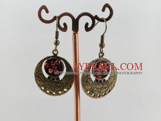 Lovely Round Loop Copper Charm And Glass Beads Dangle Earrings With Fish Hook