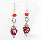 Wholesale Lovely Red Crystal And Colored Glaze Ball Printed Eye Cap Charm Earrings