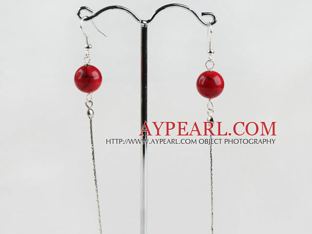 dangling style 12mm blood stone beads earrings